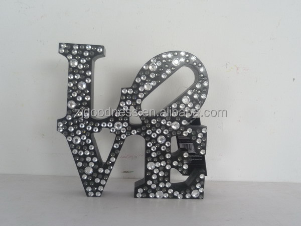 Home Decorations LOVE with Jewels Black Wooden Word Sign