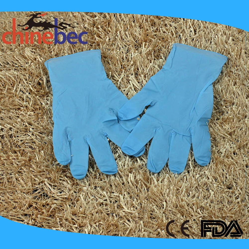 Powder free disposable medical nitrile glove