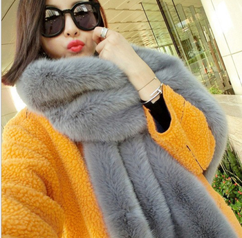 befdcdf32e75 Color Blocking Knitted Cashmere Wool With Artificial Fox Fur Collar Long  Scarf Shawl