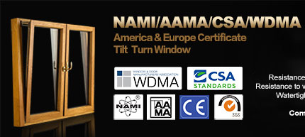 CSA/AAMA/NAMI Certification Aluminum Clad Solid Wood Window With Arched Top