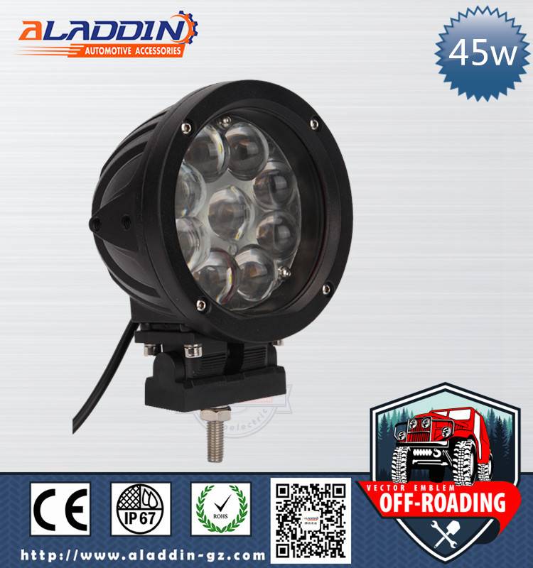 China supplier automobiles 12v/24v volt round 45w 4D lens work light led spotlight for truck offroad