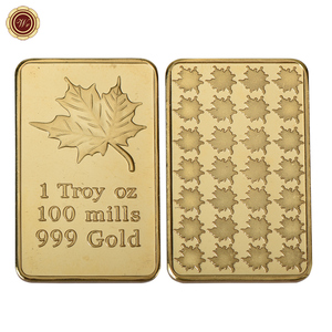 WR 1 Troy OZ 100 Mills Gold Bar Plated with 24k 999 Gold Maple Leaf Replica Coin Bar Bullion for Home Decor
