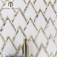 PFM hot sale premium grade brass inlay carrara white marble waterjet mosaic tile