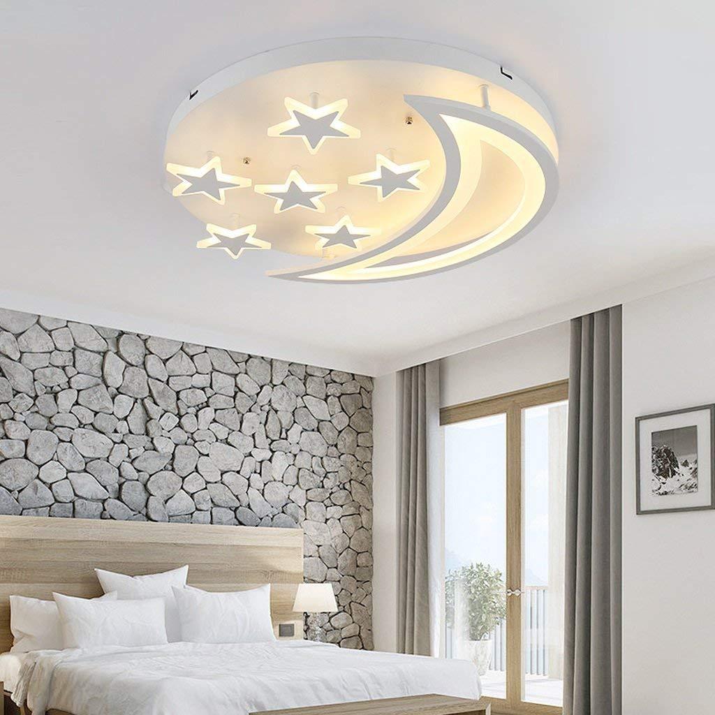 MILUCE Creative stars moon ceiling lantern Simple Modern LED Bedroom Ceiling Light Living Room Children's Room Ceiling Lamp ( Color : White light , Size : 505010cm )