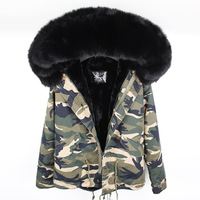 Big Real Fox Fur Collar Hood Women Jacket Lined Coat