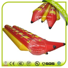 NEVERLAND TOYS Red Inflatable Banana Boat 14 Persons Double Tubes Banana Boat Crazy Inflatable Water Toys Summer Hot Sale