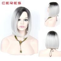 Short Style Grey Hair Wig Straight Black Root Gray Ombre Synthetic Bob Lace Front Wigs for Women