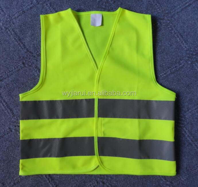 Fluo yellow kids reflective safety vest cross the road