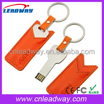 Free embossed logo metal key usb flash drive with leather cover