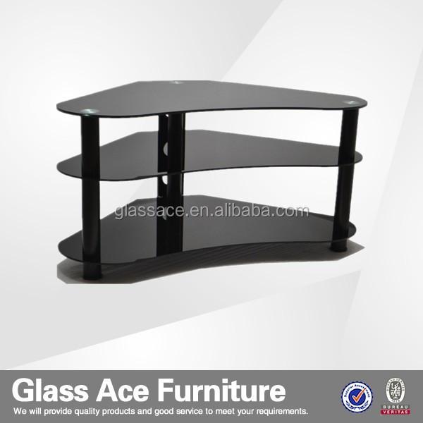 Mountright angolo curvo gambe disegno porta tv in vetro nero nero ...