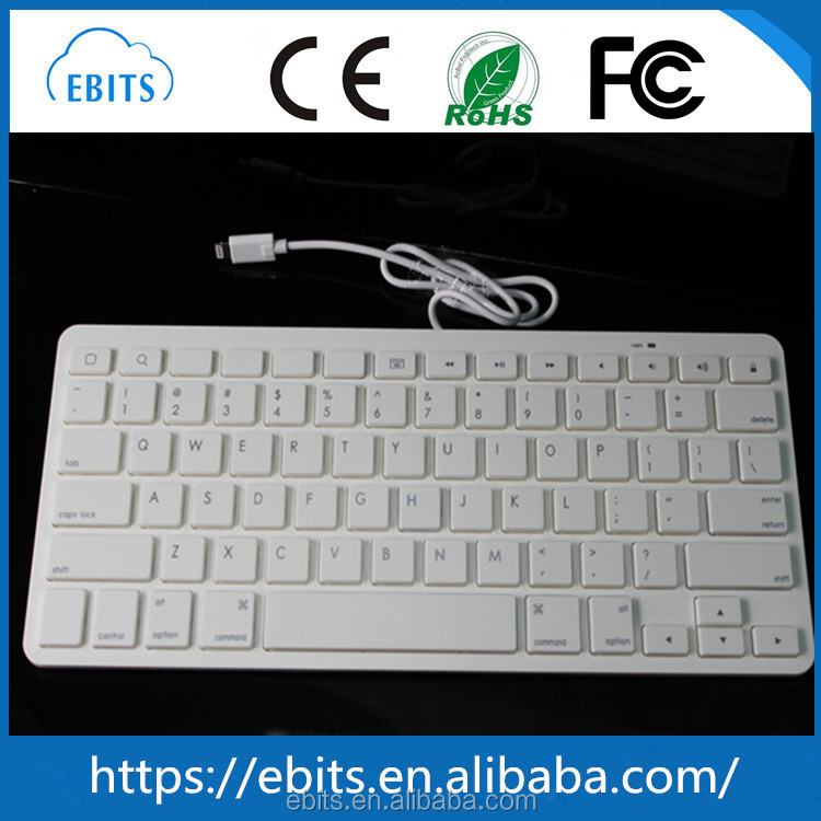 Special design cheapest portable super slim MFi certificated lightnning USB wired multimedia keyboard for iPads