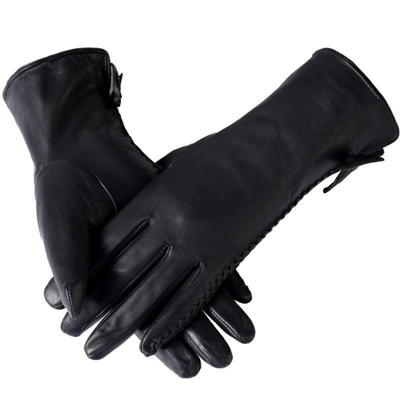 2015 New Arrival Winter Motorcycle Bow Thin Soft Genuine Leather Gloves,Fashion Women Black ladies gloves, Warm winter gloves