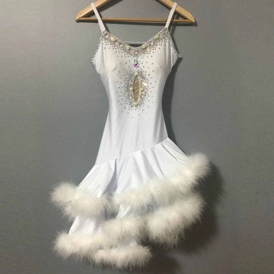 New style Latin dance costume sexy senior stones feather latin dance dress for women latin dance competition dresses S-4XL 8