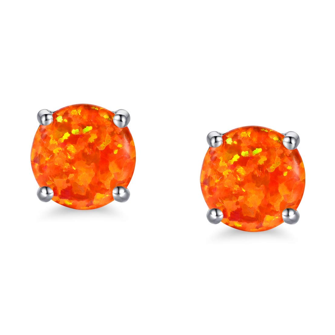df814ae22 Get Quotations · White Gold Plated Opal Stud Earrings with Round Cut Orange Fire  Opal for Women Girls Hypoallergenic