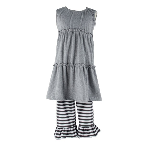 Factory bulk clothes wholesale girls toddler smock dress ruffle stripe pants infants baby clothes
