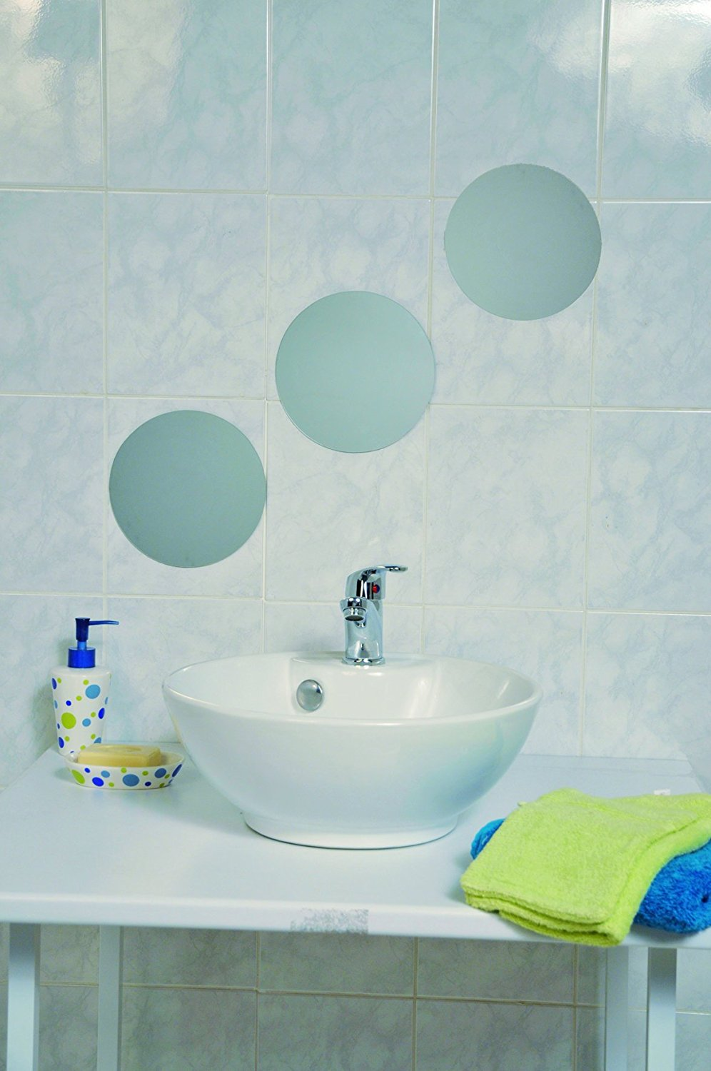 Get Quotations Evideco 850099 Decorative Wall Bathroom Self Adhesive Round Mirrors Diameter 7 8 Inch Set Of