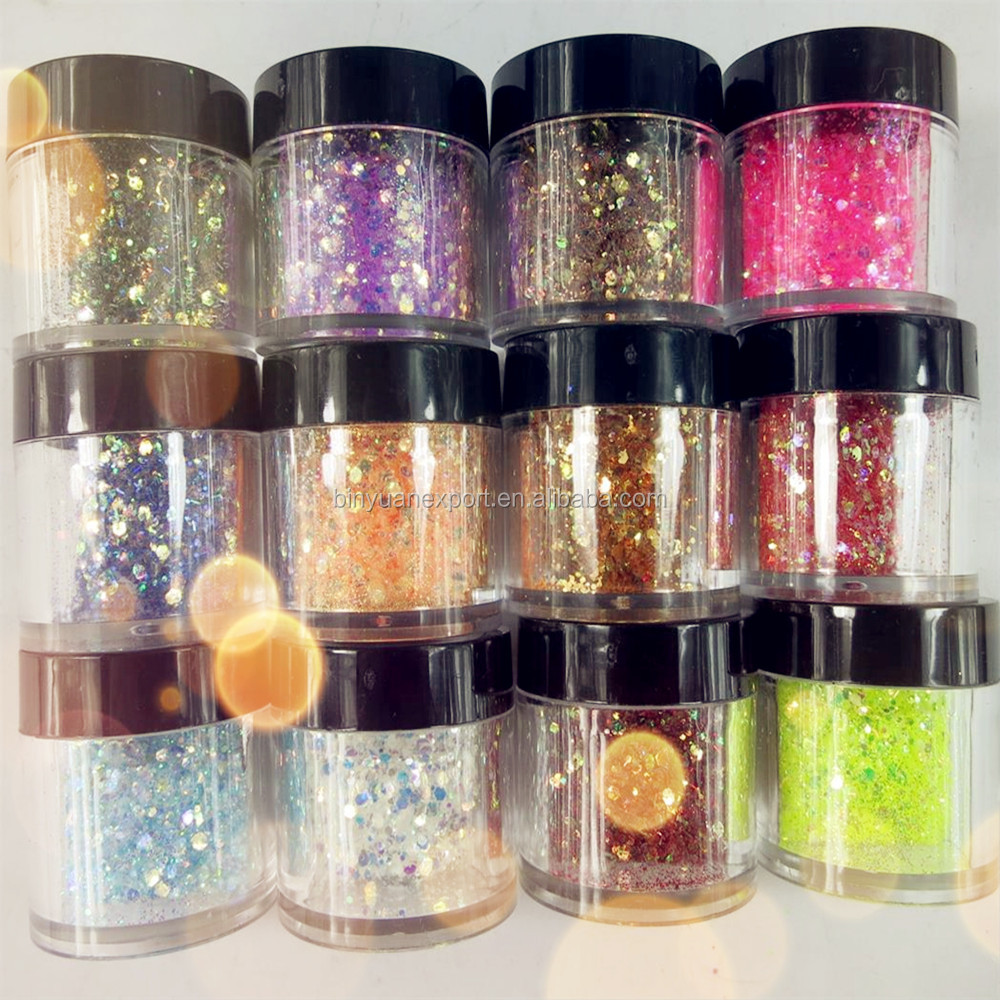 Mix Color Mix Size (1&2mm) Round Nail Art Glitter Flakes