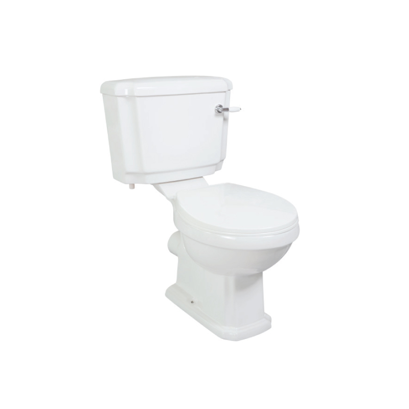 Single flush two piece water closet and cistern wash down toilet