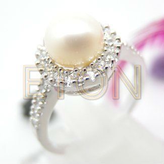 2012 best selling excellent princess elegant design with quality freshwater pearl fashion 925 silver peal ring jewelry