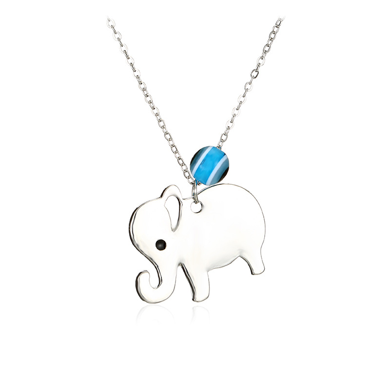 Korean Style <strong>Cheap</strong> Fashion <strong>Cute</strong> Alloy Elephant Silver Charm <strong>Necklace</strong> with Evil Eye for Girls