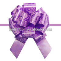 2015 printed with rose flower ribbon pull bow/hongkong pull flower ribbon bow for decorative or gift packing