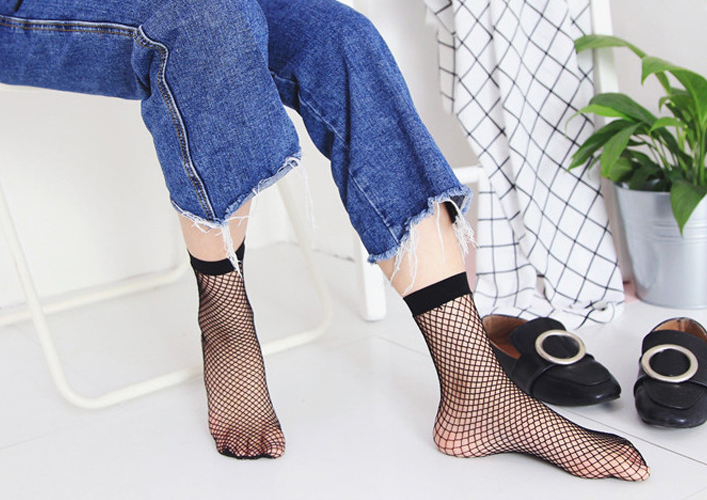 Womens Sexy Black Thick Fishnet Mesh Short Ankle Socks