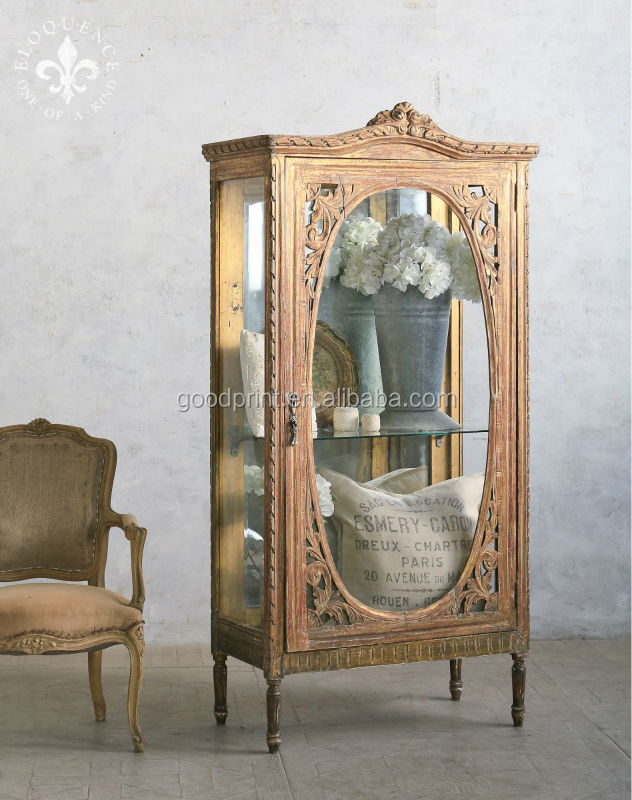French Glass Display Cabinet Vintage Country Antique Furniture - Buy French  Country Antique Reproduction Furniture,French Country Vintage Furniture, Vintage ... - French Glass Display Cabinet Vintage Country Antique Furniture - Buy