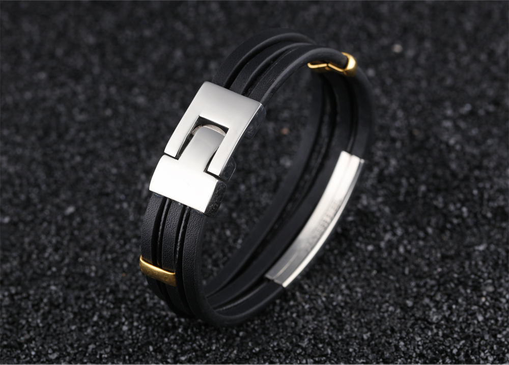 Customized Your Own Design Expensive Branded Cool Mens Leather Strap Bracelet