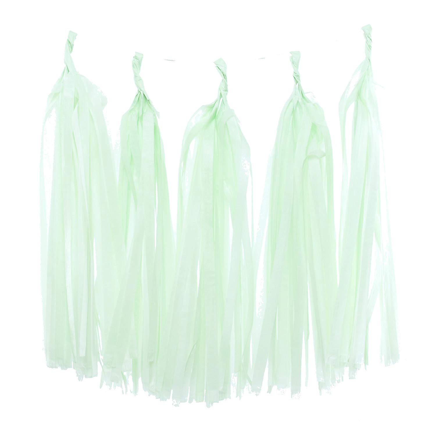 Tissue Paper Garland, Mint Green Party Tassels (Set of 5) - Party Backdrops, Tassel Banner, Light Green Wedding Streamers, Baby Shower Party Supplies