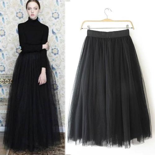 onionshow nouveau printemps mode princesse femmes multi couche tulle maxi jupe longue gris noir. Black Bedroom Furniture Sets. Home Design Ideas