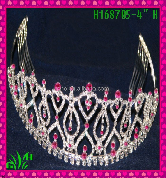 New designs rhinestone products Red and white good crown a tiara crown