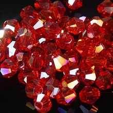 Mode DIY sieraden 3mm China Kristal Kraal Glas Bicone bead 1000pcs Red AB
