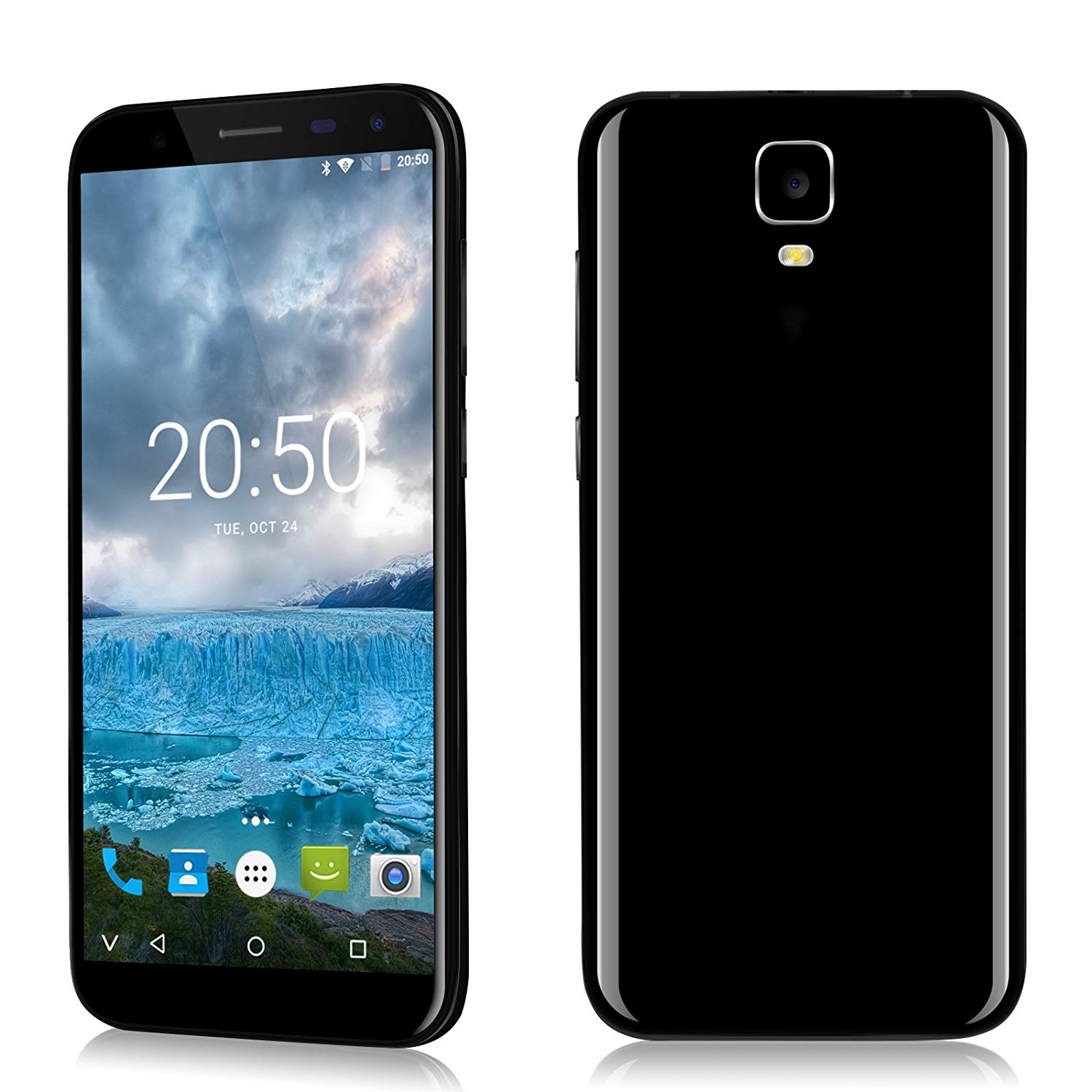 Xgody D24 16GB+1GB 5.5 Inch Android 7.0 Nougat Unlocked Cell Phones for GSM WCDMA 640/1280 Celulares desbloqueados For T-mobile AT&T(Black)