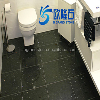 Black Crystal Faux Quartz Stone Floor Tiles For Bathroom
