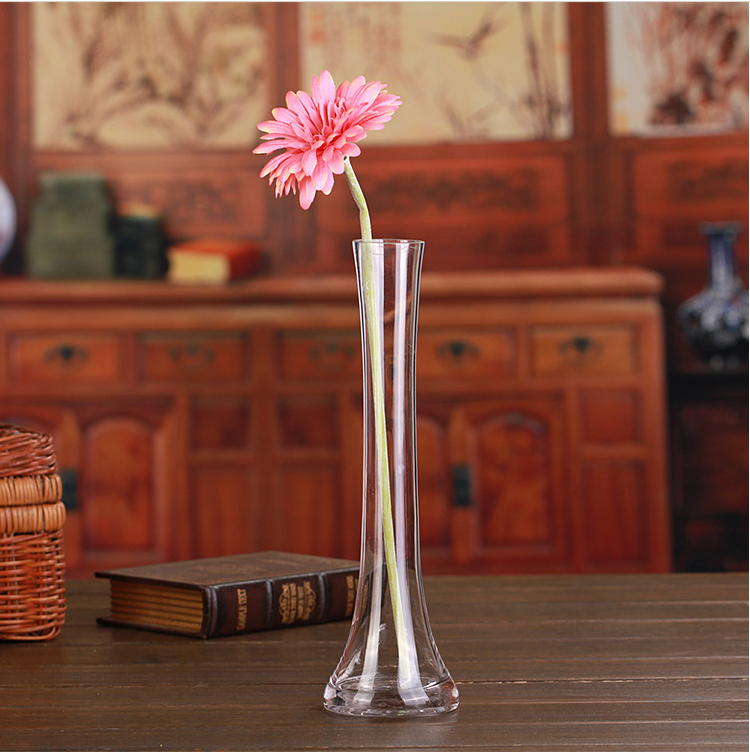 Long Neck Clear Glass Flower Vase For Home Decoration Table Centerpieces Buy Long Neck Clear