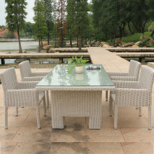 Good quality hot selling rattan wicker garden outdoor dining furniture with table and chair
