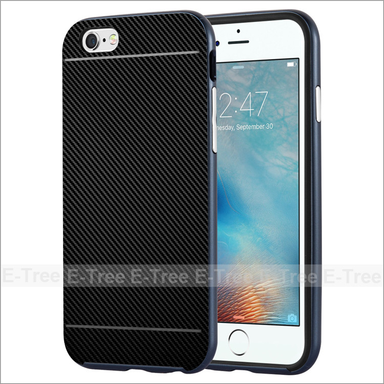 2017 Carbon Fiber Pattern Tpu Soft Back Cover +PC Frame Case For Apple iPhone 6 Phone Case