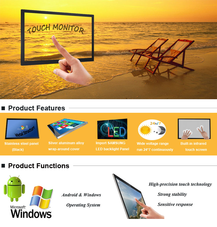 65 inch indoor monitor touchscreen commercial lcd digital advertising monitor