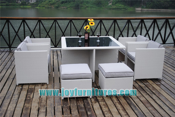 Rattan Dining Set Rattan Garden Furniture Outdoor Patio 9 Piece Cube Set  With Glass Table Waterproof Part 86