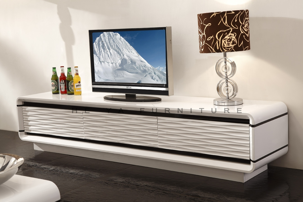 White high gloss lcd TV stand/modern lcd table wooden
