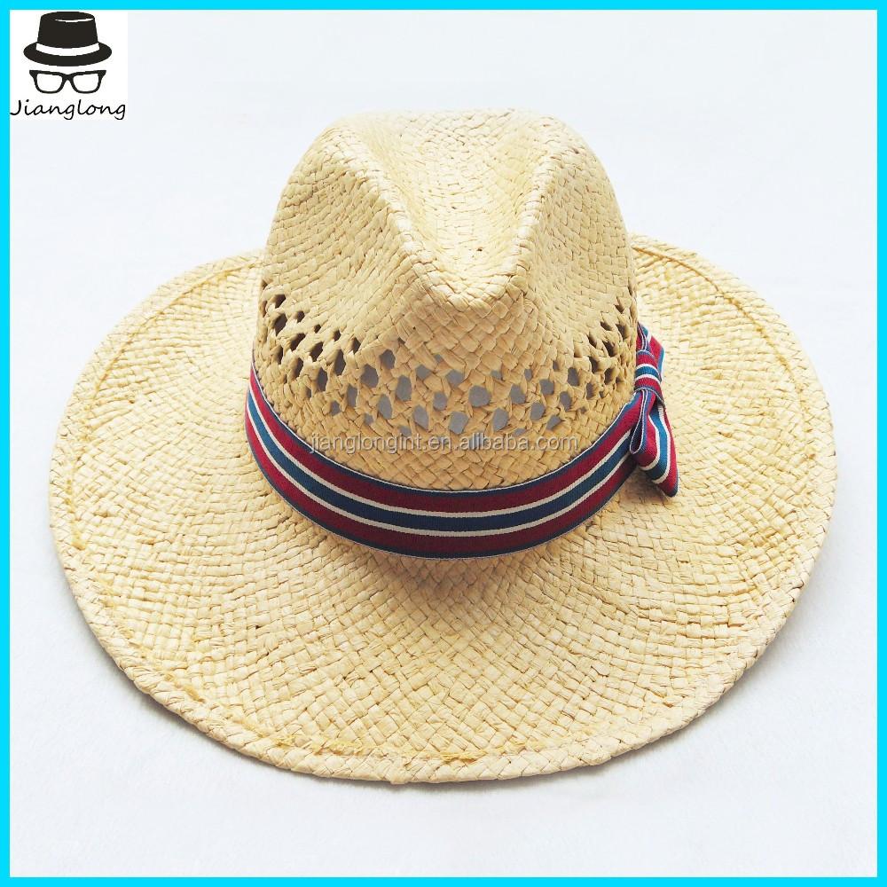 Wholesale Mexico mens straw hats Factory Custom paper fedora Hat with  customer logo a115f960dfa
