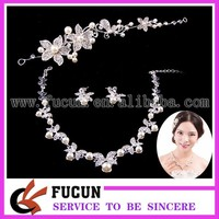 Art Deco Flower Vine Leaf Crystal Bridesmaid Clear Necklace Earrings pearl rhinestone Wedding Jewelry Set
