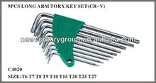 9pcs Long Arm Hex Wrench Set Inch