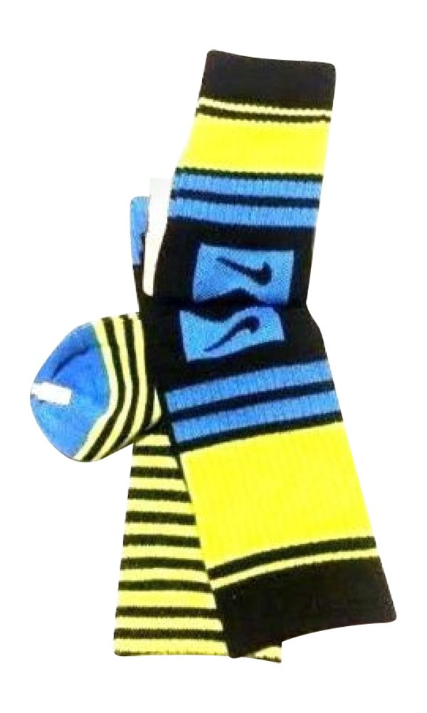 Nike 2 Pairs/Pack High Crew Socks, Youth, Black/ Blue/Neon, 3Y-5Y