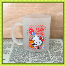 Customized design kitty cat printed glass beer mug,frosted beverage glass cup for promotion gift