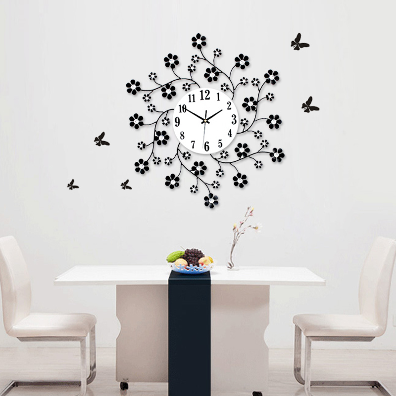 Home Decoration Wall Clocks Aesthetic Rustic Small Flower Clock Modern Personality Mute M1140