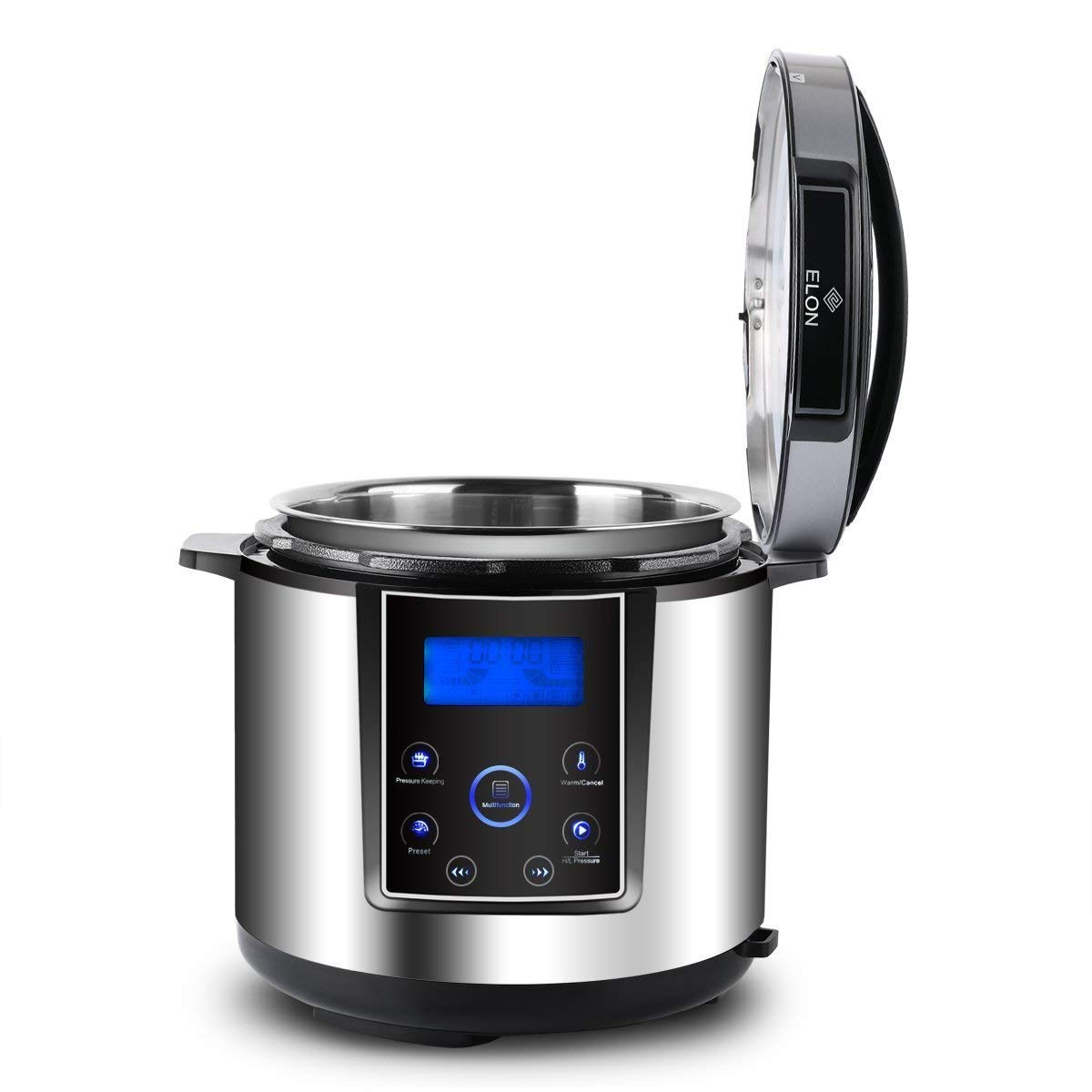ELON Elite Modern Multi-Cooker 6 Qt 11-in-1 Programmable Pressure Cooker, Slow Cooker, Rice Cooker, FAST Steamer, Sauté, Yogurt Maker and Warmer. FAST Cooker with TRIPLE Sealed Lid (6 QT)