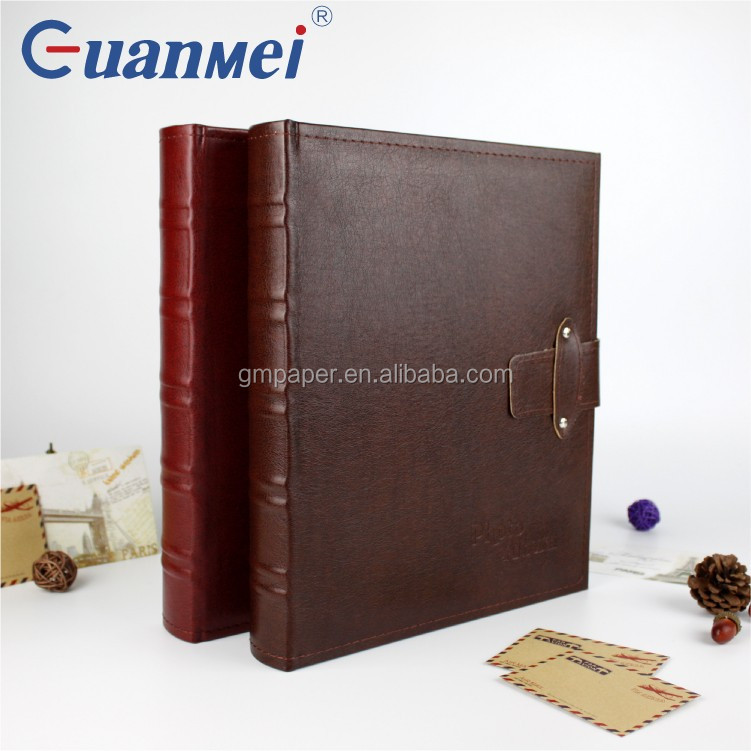 GuanMei Leather Cover Book Bound Self Adhesive 265X325MM Photo Album With 25 White Sheets