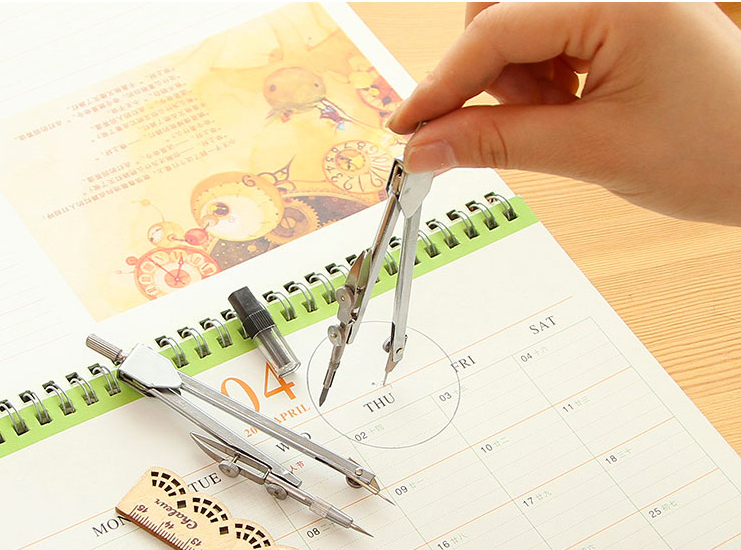 School stationary Metal darwing compass set Student math compasses