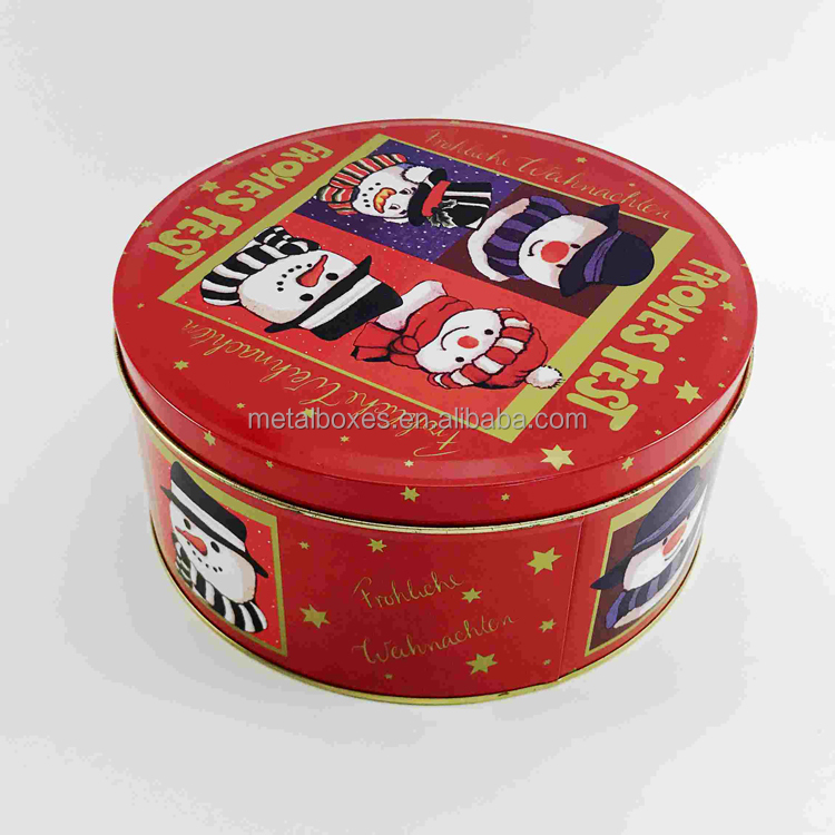 Commercio all'ingrosso Food Grade Regalo di Biscotti Cookie Rotonda Tin Can Metal Box Imballaggio Produttore Dalla Cina
